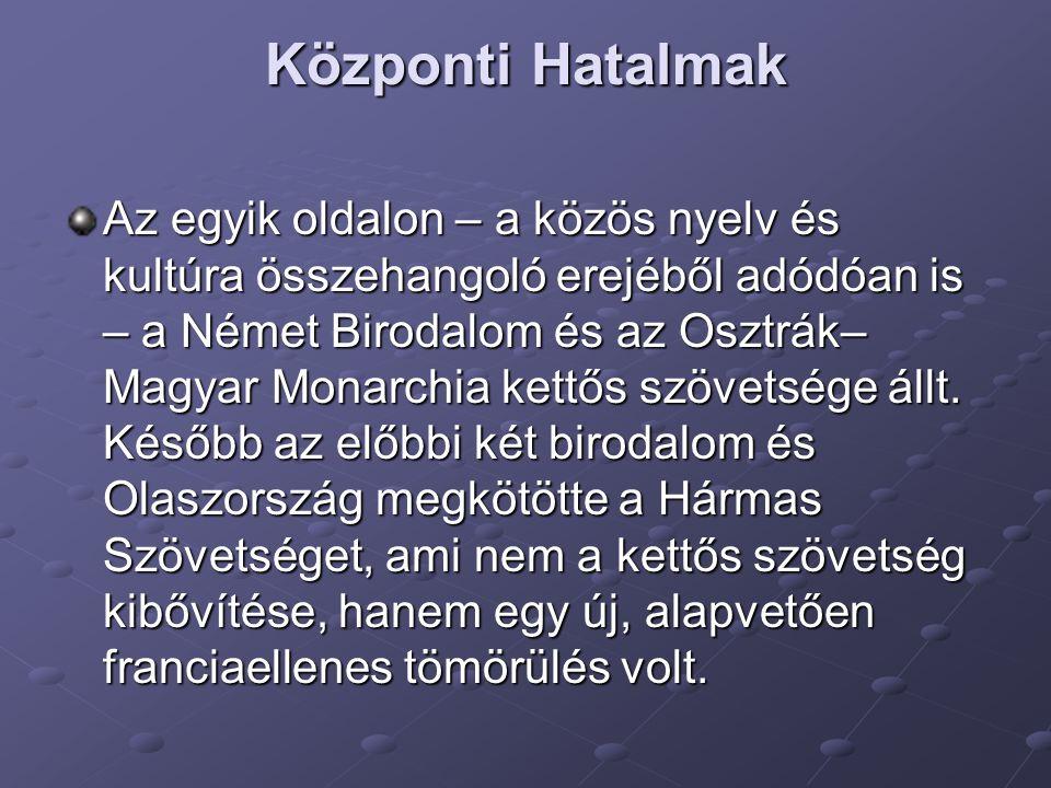Központi Hatalmak Az egyik oldalon – a közös nyelv és kultúra összehangoló erejéből adódóan is – a Német Birodalom és az Osztrák– Magyar Monarchia ket
