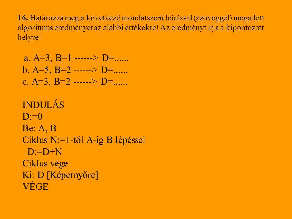 16. Határozza meg a következő mondatszerű leírással (szöveggel) megadott algoritmus eredményét az alábbi értékekre! Az eredményt írja a kipontozott he