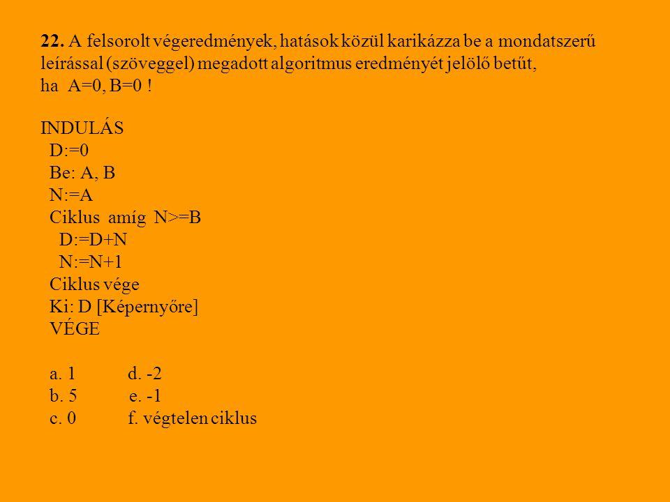 22. A felsorolt végeredmények, hatások közül karikázza be a mondatszerű leírással (szöveggel) megadott algoritmus eredményét jelölő betűt, ha A=0, B=0