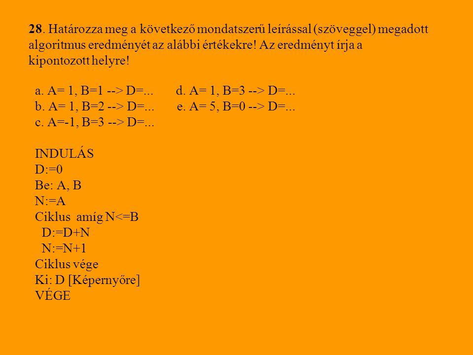 28. Határozza meg a következő mondatszerű leírással (szöveggel) megadott algoritmus eredményét az alábbi értékekre! Az eredményt írja a kipontozott he