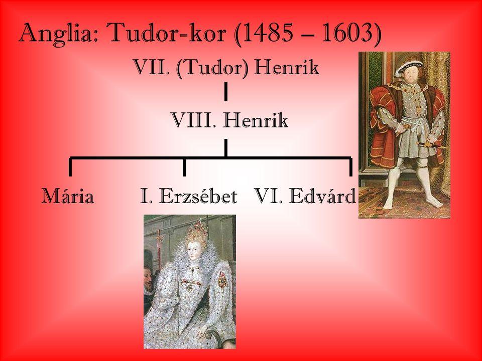 Anglia: Tudor-kor (1485 – 1603) VII. (Tudor) Henrik VIII. Henrik MáriaI. ErzsébetVI. Edvárd