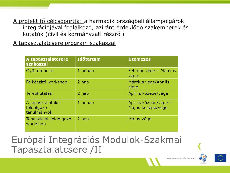 Európai Integrációs Modulok-Szakmai Tapasztalatcsere /II A projekt fő célcsoportja: a harmadik országbeli állampolgárok integrációjával foglalkozó, aziránt érdeklődő szakemberek és kutatók (civil és kormányzati részről) A tapasztalatcsere program szakaszai A tapasztalatcsere szakaszai IdőtartamÜtemezés Gyűjtőmunka1 hónapFebruár vége – Március vége Felkészítő workshop2 napMárcius vége/Április eleje Terepkutatás2 napÁprilis közepe/vége A tapasztalatokat feldolgozó tanulmányok 1 hónapÁprilis közepe/vége – Május közepe/vége Tapasztalat feldolgozó workshop 2 napMájus vége