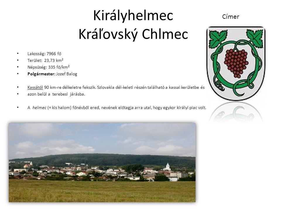 Királyhelmec Kráľovský Chlmec • Lakosság: 7966 fő • Terület: 23,73 km² • Népsűség: 335 fő/km² • Polgármester: Jozef Balog • Kassától 90 km-re délkelet