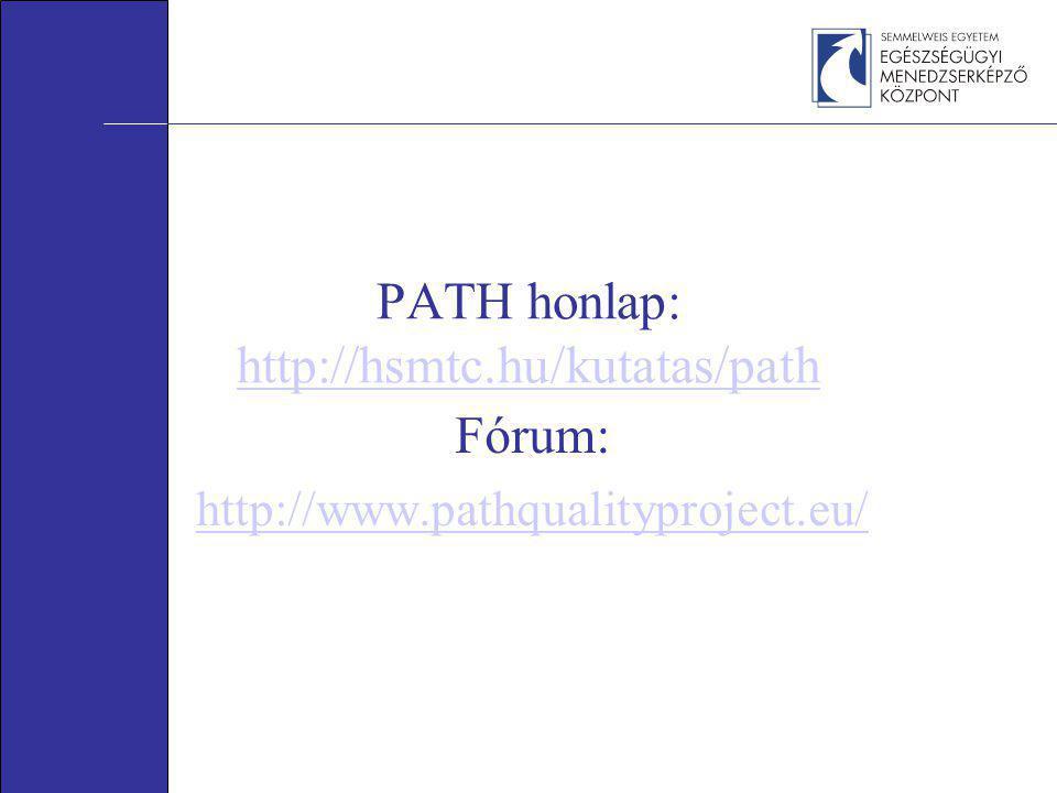 PATH honlap: http://hsmtc.hu/kutatas/path http://hsmtc.hu/kutatas/path Fórum: http://www.pathqualityproject.eu/