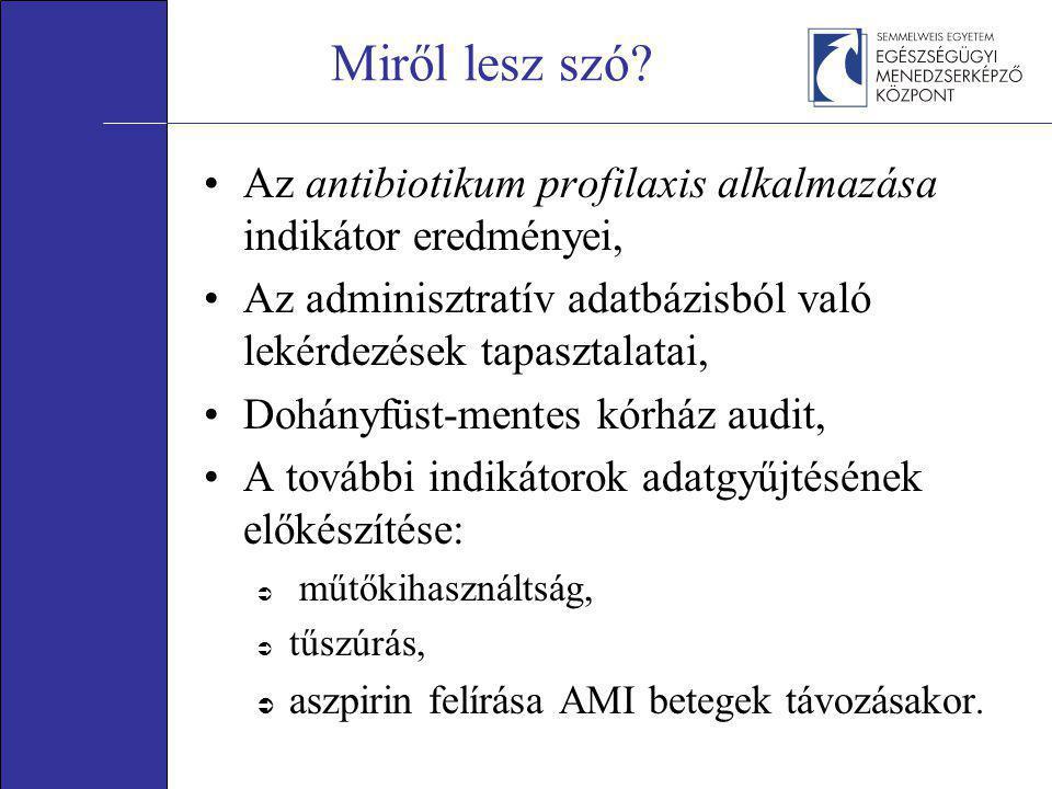 Miről lesz szó? •Az antibiotikum profilaxis alkalmazása indikátor eredményei, •Az adminisztratív adatbázisból való lekérdezések tapasztalatai, •Dohány