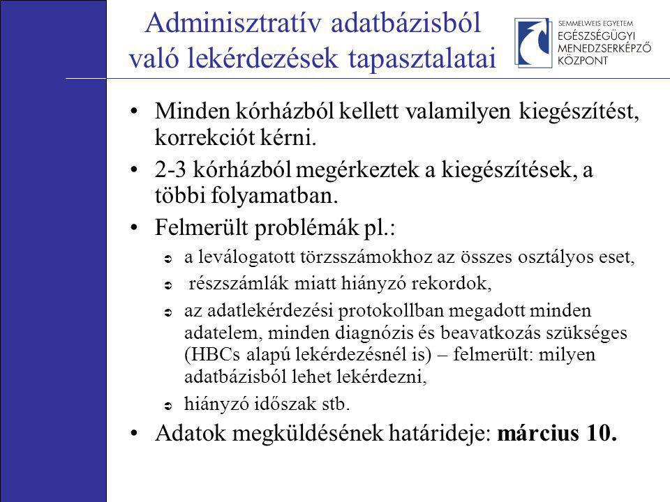 Adminisztratív adatbázisból való lekérdezések tapasztalatai •Minden kórházból kellett valamilyen kiegészítést, korrekciót kérni. •2-3 kórházból megérk