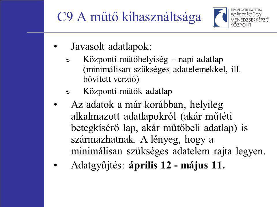 C9 A műtő kihasználtsága •Javasolt adatlapok:  Központi műtőhelyiség – napi adatlap (minimálisan szükséges adatelemekkel, ill. bővített verzió)  Köz