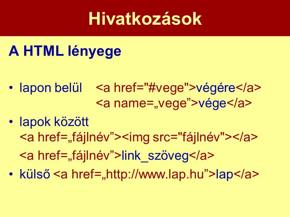 Hivatkozások A HTML lényege •lapon belül végére vége •lapok között link_szöveg •külső lap