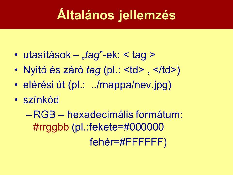 """Általános jellemzés •utasítások – """"tag""""-ek: •Nyitó és záró tag (pl.:, ) •elérési út (pl.:../mappa/nev.jpg) •színkód –RGB – hexadecimális formátum: #rr"""