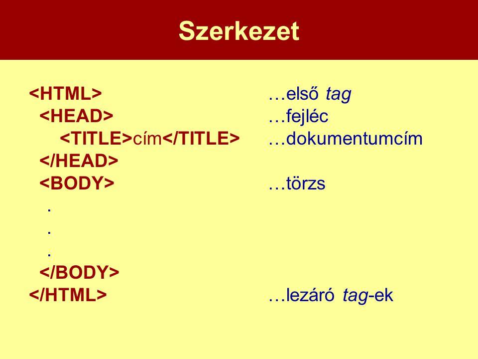 Szerkezet …első tag …fejléc cím …dokumentumcím …törzs. …lezáró tag-ek