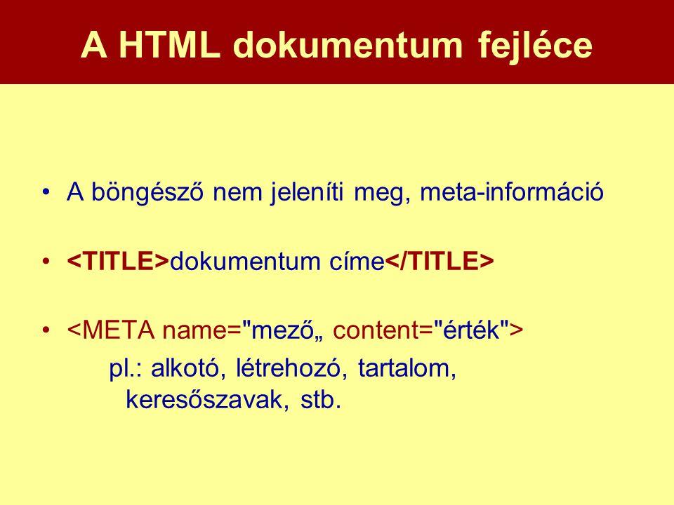 A HTML dokumentum fejléce •A böngésző nem jeleníti meg, meta-információ • dokumentum címe • pl.: alkotó, létrehozó, tartalom, keresőszavak, stb.