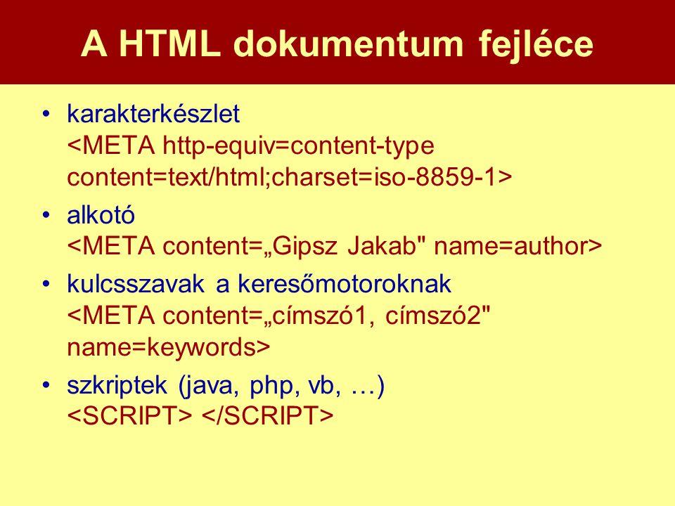 A HTML dokumentum fejléce •karakterkészlet •alkotó •kulcsszavak a keresőmotoroknak •szkriptek (java, php, vb, …)