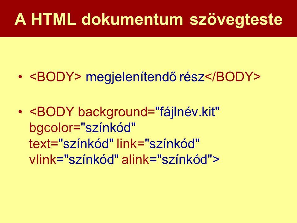 A HTML dokumentum szövegteste • megjelenítendő rész •