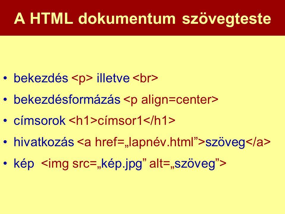 A HTML dokumentum szövegteste •bekezdés illetve •bekezdésformázás •címsorok címsor1 •hivatkozás szöveg •kép
