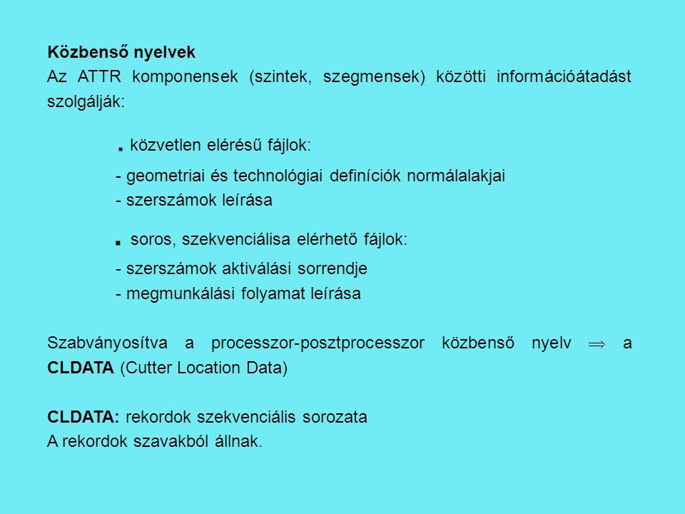Közbenső nyelvek Az ATTR komponensek (szintek, szegmensek) közötti információátadást szolgálják:.