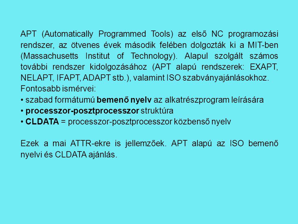 APT (Automatically Programmed Tools) az első NC programozási rendszer, az ötvenes évek második felében dolgozták ki a MIT-ben (Massachusetts Institut of Technology).