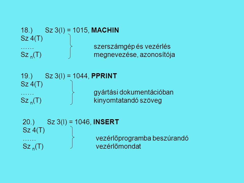 18.)Sz 3(I) = 1015, MACHIN Sz 4(T) ……szerszámgép és vezérlés Sz n (T)megnevezése, azonosítója 19.)Sz 3(I) = 1044, PPRINT Sz 4(T) ……gyártási dokumentációban Sz n (T)kinyomtatandó szöveg 20.)Sz 3(I) = 1046, INSERT Sz 4(T) ……vezérlőprogramba beszúrandó Sz n (T)vezérlőmondat