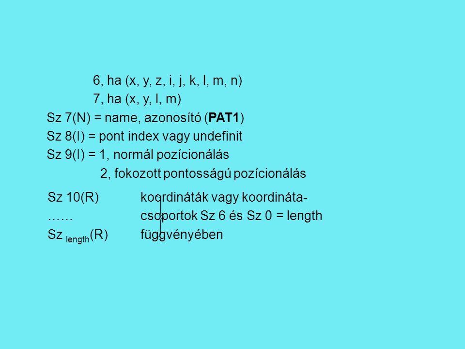 6, ha (x, y, z, i, j, k, l, m, n) 7, ha (x, y, l, m) Sz 7(N) = name, azonosító (PAT1) Sz 8(I) = pont index vagy undefinit Sz 9(I) = 1, normál pozícionálás 2, fokozott pontosságú pozícionálás Sz 10(R)koordináták vagy koordináta- ……csoportok Sz 6 és Sz 0 = length Sz length (R)függvényében