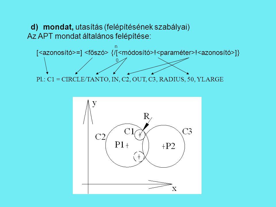 d) mondat, utasítás (felépítésének szabályai) Az APT mondat általános felépítése: [ =]  /[ .