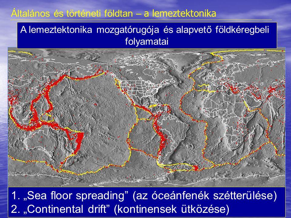 óceáni/óceáni kontinentális/óceáni kontinentális/kontinentális Hot Points Eltolódások Óceánközépi hátságok területe Kontinentális riftek Általános és történeti földtan – a lemeztektonika