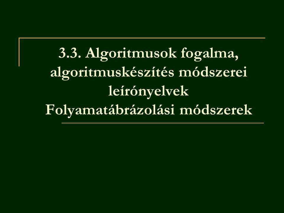Definíciók: Algoritmus: bármely véges sok lépéssel leírható tevékenység.