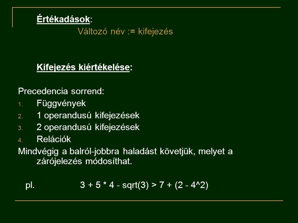 Értékadások: Változó név := kifejezés Kifejezés kiértékelése: Precedencia sorrend: 1. Függvények 2. 1 operandusú kifejezések 3. 2 operandusú kifejezés