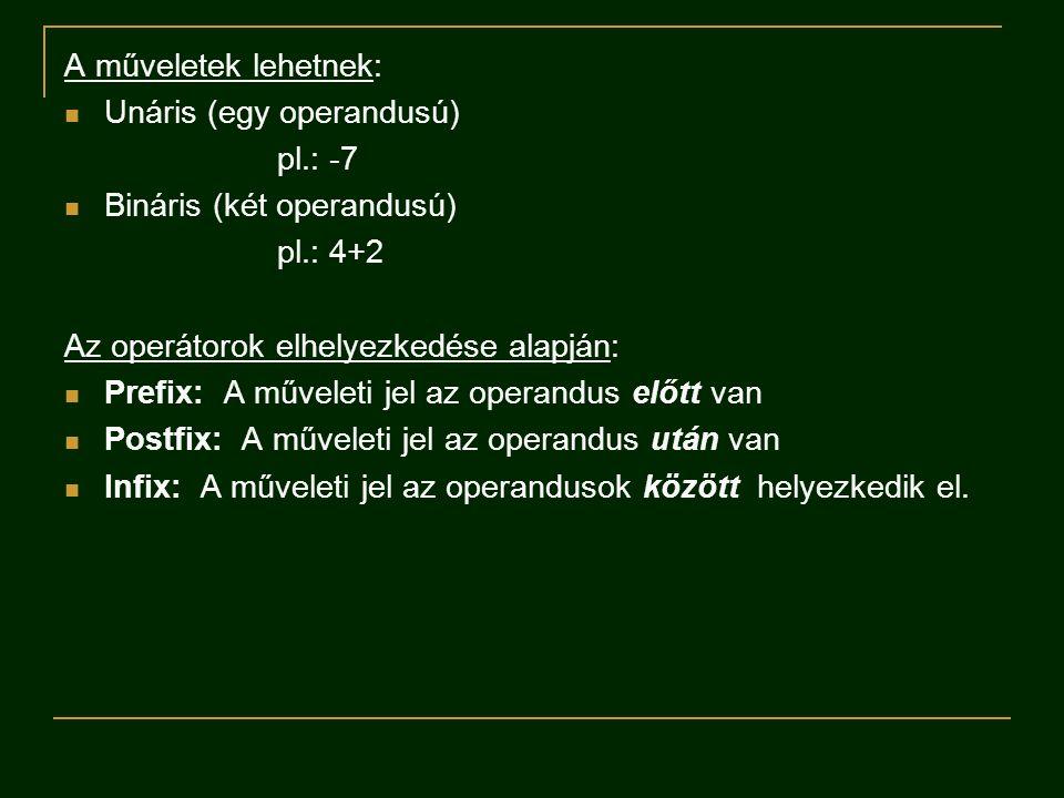 A műveletek lehetnek:  Unáris (egy operandusú) pl.: -7  Bináris (két operandusú) pl.: 4+2 Az operátorok elhelyezkedése alapján:  Prefix: A műveleti