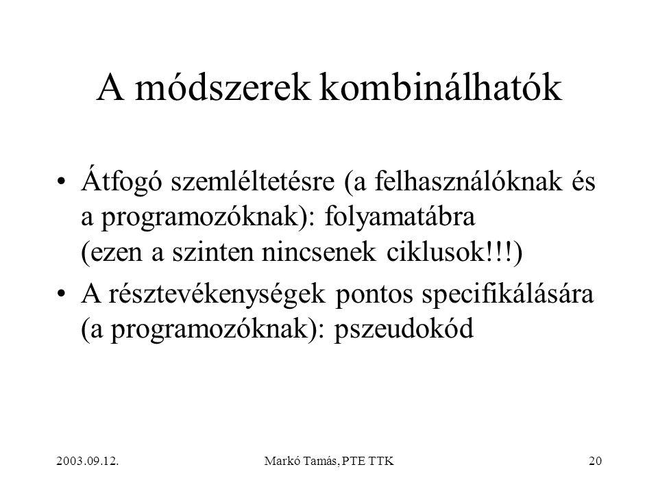 2003.09.12.Markó Tamás, PTE TTK20 A módszerek kombinálhatók •Átfogó szemléltetésre (a felhasználóknak és a programozóknak): folyamatábra (ezen a szinten nincsenek ciklusok!!!) •A résztevékenységek pontos specifikálására (a programozóknak): pszeudokód
