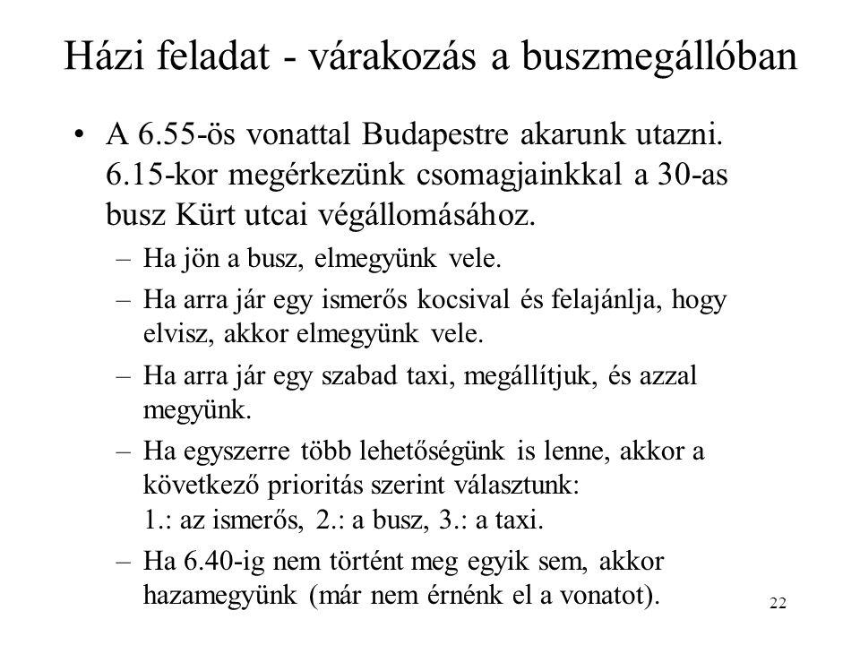 22 Házi feladat - várakozás a buszmegállóban •A 6.55-ös vonattal Budapestre akarunk utazni.