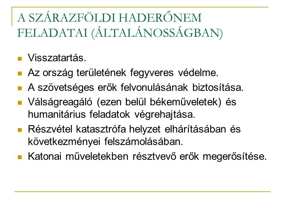 A SZÁRAZFÖLDI HADERŐNEM FELADATAI (ÁLTALÁNOSSÁGBAN)  Visszatartás.