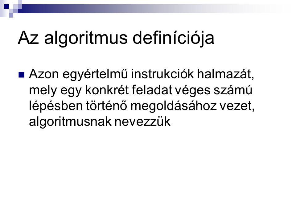 Az algoritmus definíciója  Azon egyértelmű instrukciók halmazát, mely egy konkrét feladat véges számú lépésben történő megoldásához vezet, algoritmus