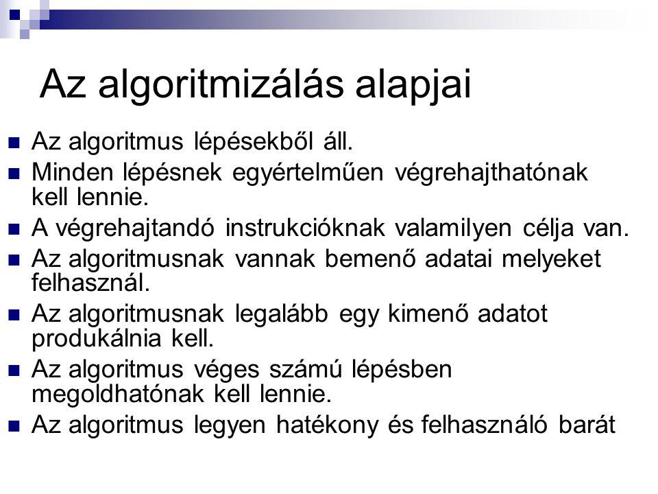 Az algoritmizálás alapjai  Az algoritmus lépésekből áll.  Minden lépésnek egyértelműen végrehajthatónak kell lennie.  A végrehajtandó instrukciókna