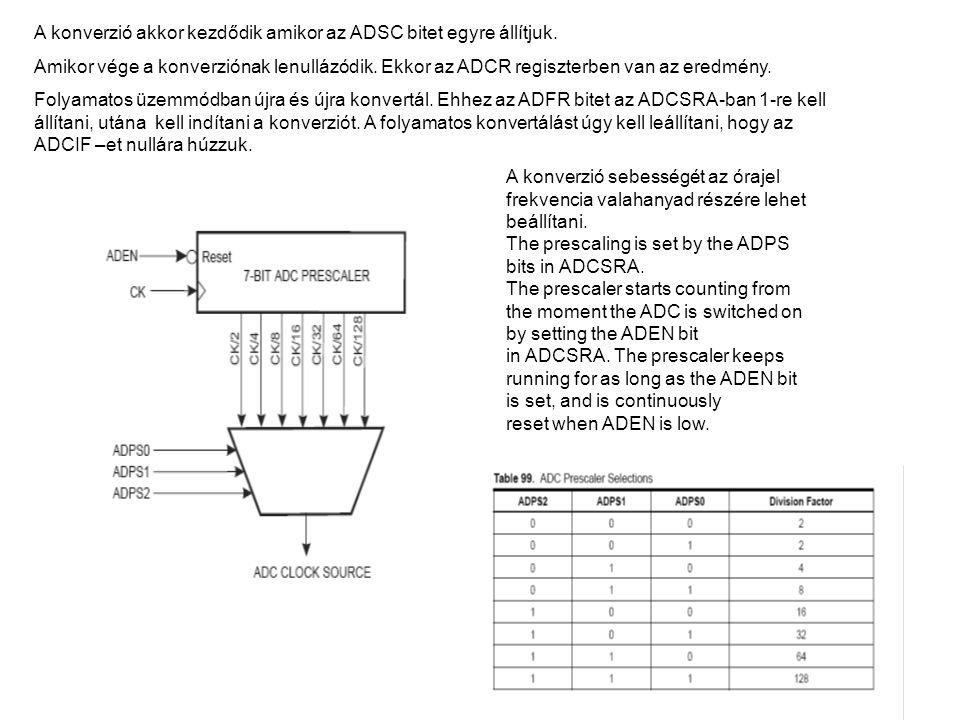 A konverzió akkor kezdődik amikor az ADSC bitet egyre állítjuk. Amikor vége a konverziónak lenullázódik. Ekkor az ADCR regiszterben van az eredmény. F
