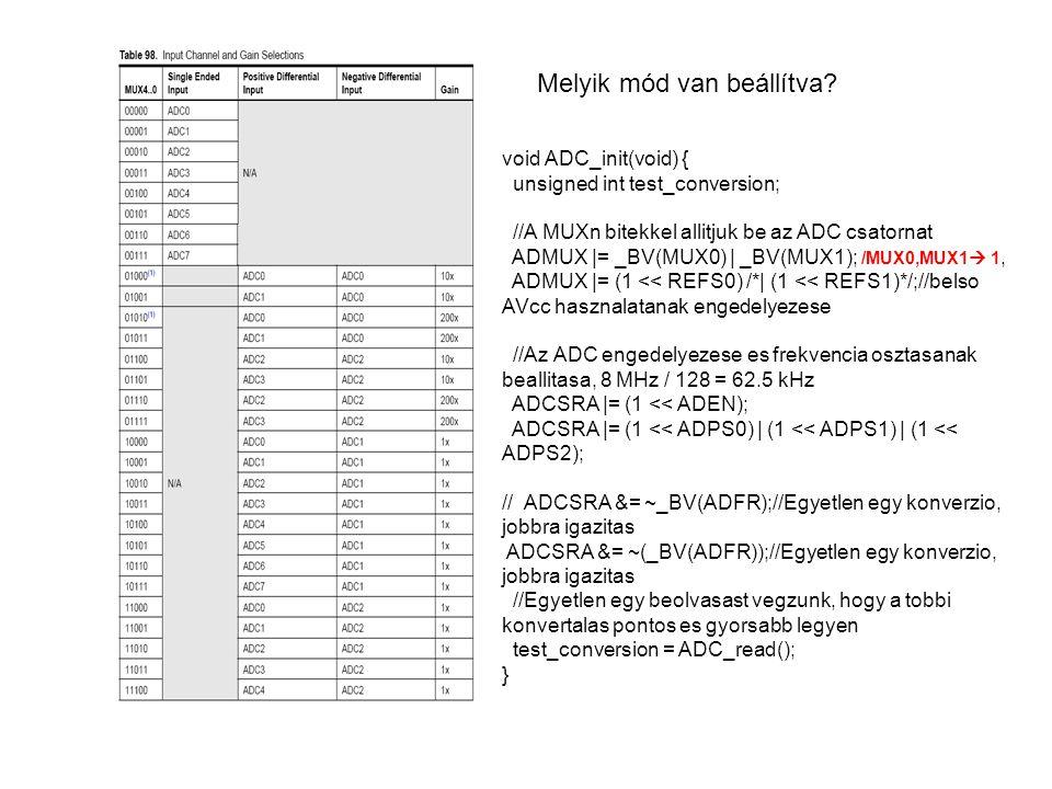 Melyik mód van beállítva? void ADC_init(void) { unsigned int test_conversion; //A MUXn bitekkel allitjuk be az ADC csatornat ADMUX |= _BV(MUX0) | _BV(