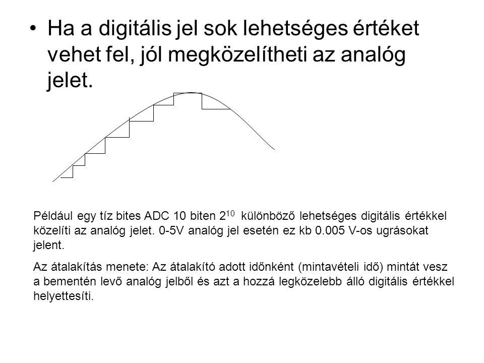 •Ha a digitális jel sok lehetséges értéket vehet fel, jól megközelítheti az analóg jelet. Például egy tíz bites ADC 10 biten 2 10 különböző lehetséges