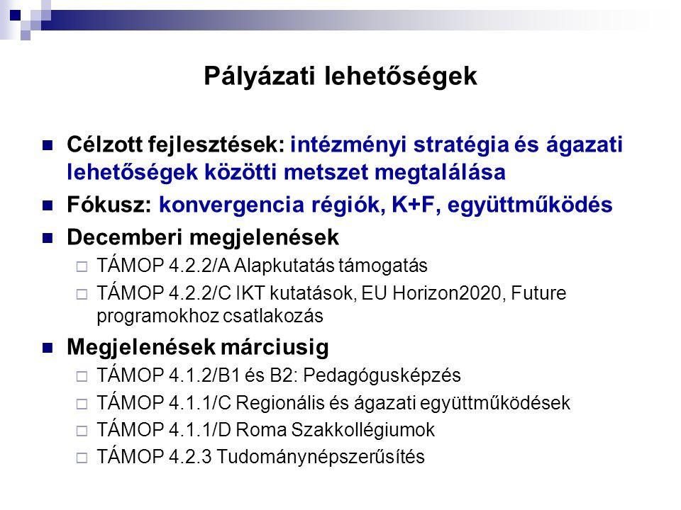 Pályázati lehetőségek  Célzott fejlesztések: intézményi stratégia és ágazati lehetőségek közötti metszet megtalálása  Fókusz: konvergencia régiók, K+F, együttműködés  Decemberi megjelenések  TÁMOP 4.2.2/A Alapkutatás támogatás  TÁMOP 4.2.2/C IKT kutatások, EU Horizon2020, Future programokhoz csatlakozás  Megjelenések márciusig  TÁMOP 4.1.2/B1 és B2: Pedagógusképzés  TÁMOP 4.1.1/C Regionális és ágazati együttműködések  TÁMOP 4.1.1/D Roma Szakkollégiumok  TÁMOP 4.2.3 Tudománynépszerűsítés