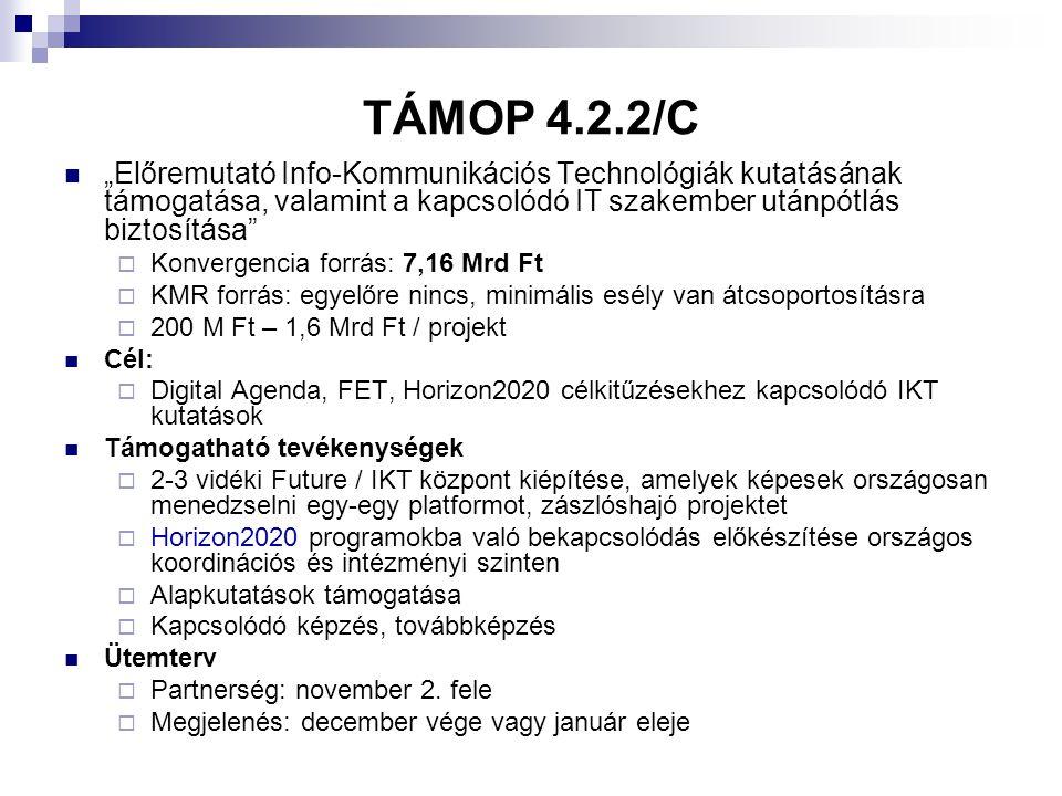 """TÁMOP 4.2.2/A  """"Nemzetközi közreműködéssel megvalósuló alap- és célzott alapkutatási projektek támogatása  Konvergencia forrás: 2011: 10 Mrd Ft, 2012: 10 Mrd Ft  KMR forrás: egyelőre nincs, minimális esély van átcsoportosításra  150 M Ft – 900 M Ft / projekt  Cél:  Kutatási kapacitások megerősítése  Támogatható tevékenységek  Kutatásmenedzsment, kutatási szolgáltatások fejlesztése  Alapkutatások támogatása  Nemzetközi hálózatépítés, Horizon2020 programokba való bekapcsolódás  Ütemterv  Partnerség: www.uszt.gov.hu oldalon jelenlegwww.uszt.gov.hu  Megjelenés: december vége vagy január eleje"""