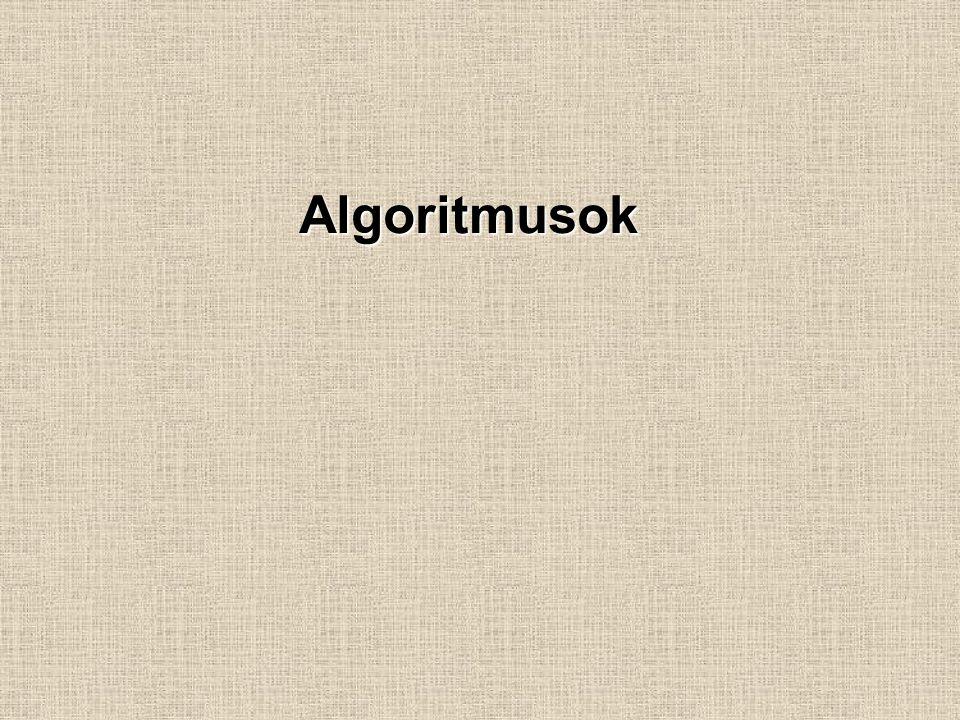 Algoritmus:  Folyamatok elemi részekre bontása.