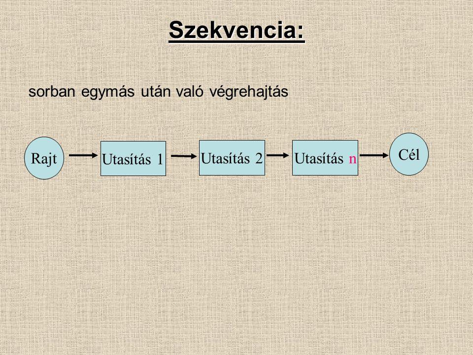 Szekvencia: sorban egymás után való végrehajtás Rajt Utasítás 1 Utasítás 2Utasítás n Cél