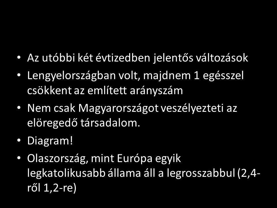 • Az utóbbi két évtizedben jelentős változások • Lengyelországban volt, majdnem 1 egésszel csökkent az említett arányszám • Nem csak Magyarországot ve
