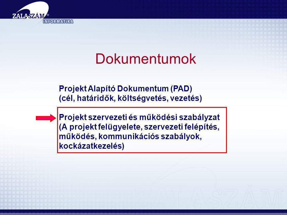 Dokumentumok Projekt Alapító Dokumentum (PAD) (cél, határidők, költségvetés, vezetés) Projekt szervezeti és működési szabályzat (A projekt felügyelete, szervezeti felépítés, működés, kommunikációs szabályok, kockázatkezelés)