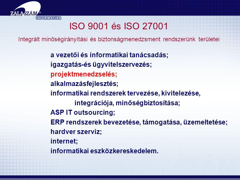 ISO 9001 és ISO 27001 Integrált minőségirányítási és biztonságmenedzsment rendszerünk területei a vezetői és informatikai tanácsadás; igazgatás-és ügyvitelszervezés; projektmenedzselés; alkalmazásfejlesztés; informatikai rendszerek tervezése, kivitelezése, integrációja, minőségbiztosítása; ASP IT outsourcing; ERP rendszerek bevezetése, támogatása, üzemeltetése; hardver szerviz; internet; informatikai eszközkereskedelem.