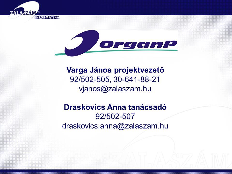 Varga János projektvezető 92/502-505, 30-641-88-21 vjanos@zalaszam.hu Draskovics Anna tanácsadó 92/502-507 draskovics.anna@zalaszam.hu