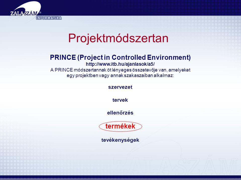 Projektmódszertan PRINCE (Project in Controlled Environment) http://www.itb.hu/ajanlasok/a5/ A PRINCE módszertannak öt lényeges összetevője van, amelyeket egy projektben vagy annak szakaszaiban alkalmaz: szervezet tervek ellenőrzés termékek tevékenységek