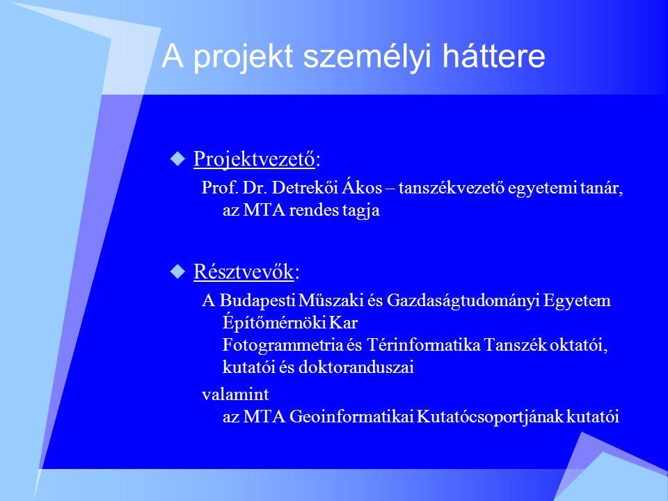 A projekt személyi háttere  Projektvezető: Prof. Dr.