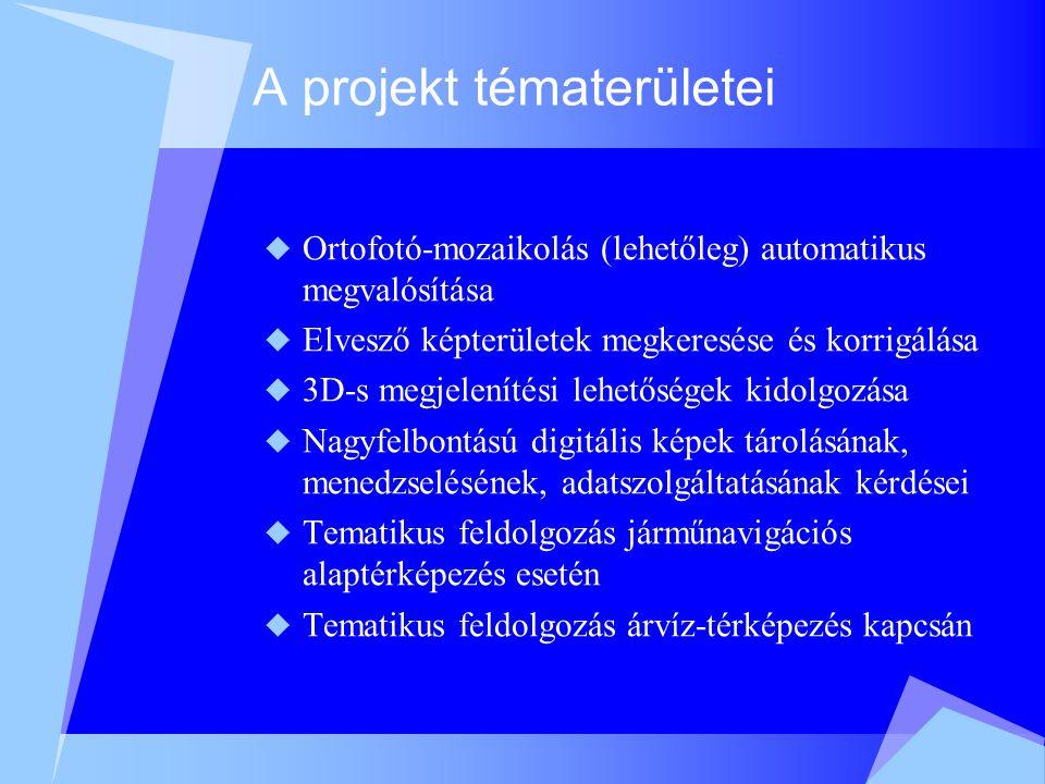 A projekt eredményei  Ortofotó keretprogram, az ortofotó-készítés dokumentációja  Térinformatikai szoftverteszt, GIS és ortofotó publikációk  Mozaikolási eljárás, kitakarásdetektálás fejlesztése, dokumentációja  Statikus és dinamikus látványterv fejlesztése és publikációja  Navigációs és árvíz-tematikus alkalmazás fejlesztése és dokumentációja  Web-publikáció kidolgozása, dokumentációja  Szakmai és pénzügyi jelentés