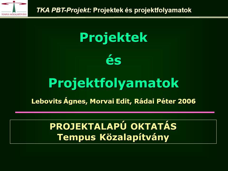 Lebovits Ágnes, Morvai Edit, Rádai Péter 2006 ProjektekésProjektfolyamatok TKA PBT-Projekt: Projektek és projektfolyamatok PROJEKTALAPÚ OKTATÁS Tempus Közalapítvány