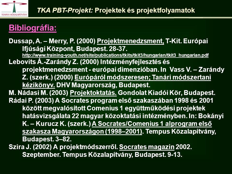 Bibliográfia: Dussap, A.– Merry, P. (2000) Projektmenedzsment, T-Kit.