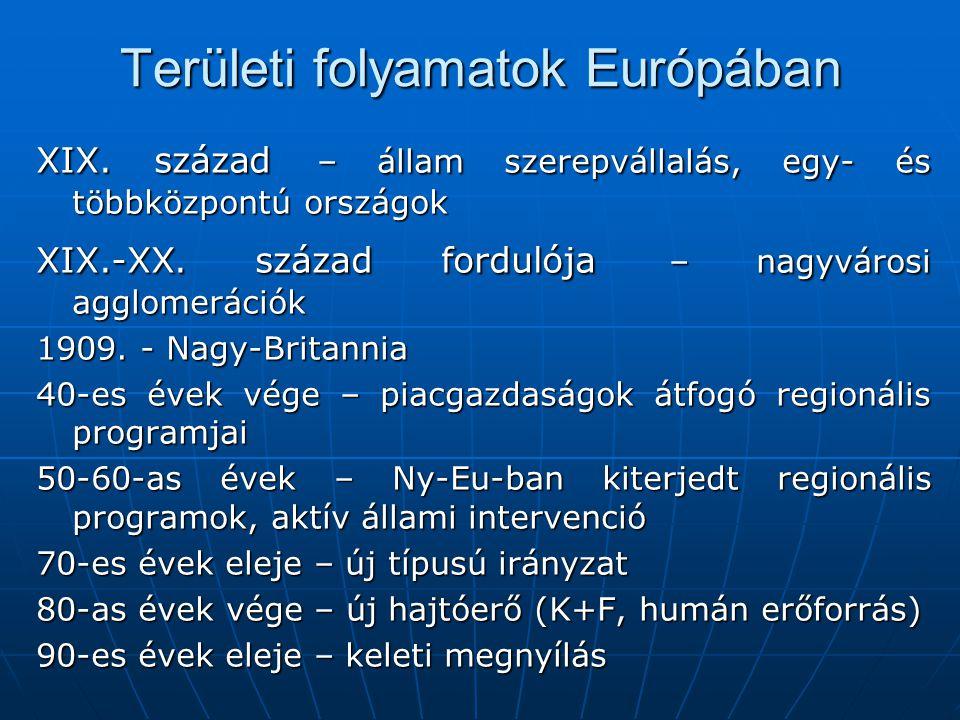 Területi folyamatok Európában XIX.