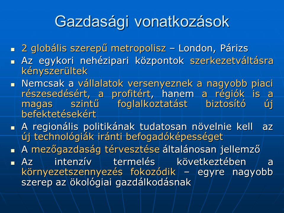 Gazdasági vonatkozások  2 globális szerepű metropolisz – London, Párizs  Az egykori nehézipari központok szerkezetváltásra kényszerültek  Nemcsak a vállalatok versenyeznek a nagyobb piaci részesedésért, a profitért, hanem a régiók is a magas szintű foglalkoztatást biztosító új befektetésekért  A regionális politikának tudatosan növelnie kell az új technológiák iránti befogadóképességet  A mezőgazdaság térvesztése általánosan jellemző  Az intenzív termelés következtében a környezetszennyezés fokozódik – egyre nagyobb szerep az ökológiai gazdálkodásnak